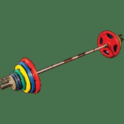 Olympische Halterset rubber gekleurd