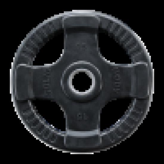 Olympische rubber halterschijven zwart. 1,25-25kg