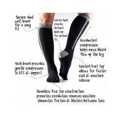 ToeSox sokken met tenen Zoe Compression | Zwart/Grijs