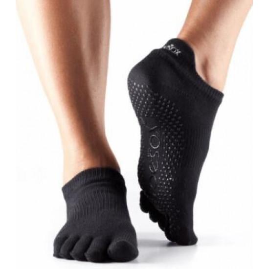 Enkelsokken met tenen en antislip - zwart XS/S/M/L