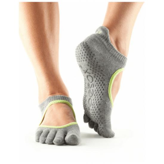 ToeSox Sokken Met Tenen Bellarina - grijs-lime S/M/L