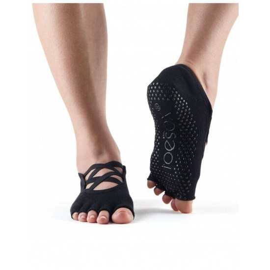 Toesox anti slip sokken Elle zonder tenen zwart S/M