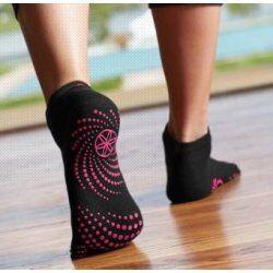 Gaiam antislip Sokken met tenen zwart met roze stippen