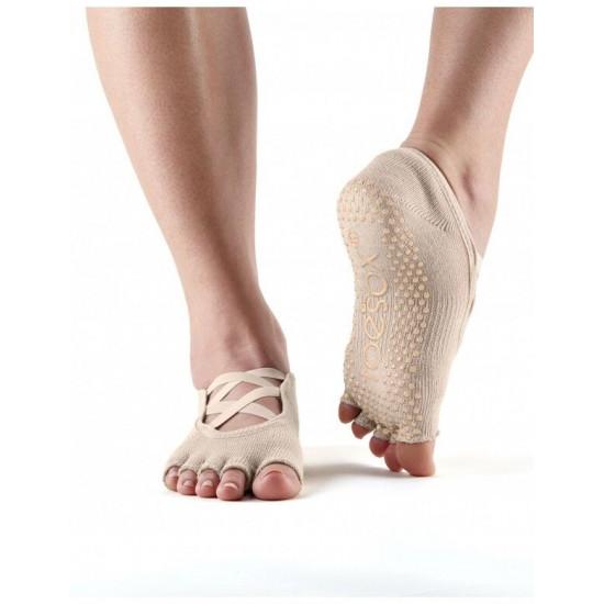 Toesox anti slip sokken Elle zonder tenen Nude S/M