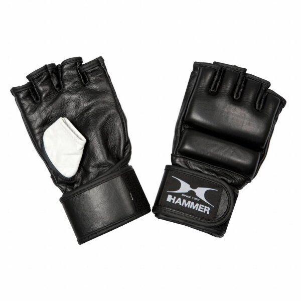 Hammer MMA, leer, zwart/wit, S (open palm)