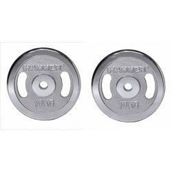 Hammer Halterschijven - Chroom - 30mm - per Paar - met grepen vanaf 5kg2x 10kg