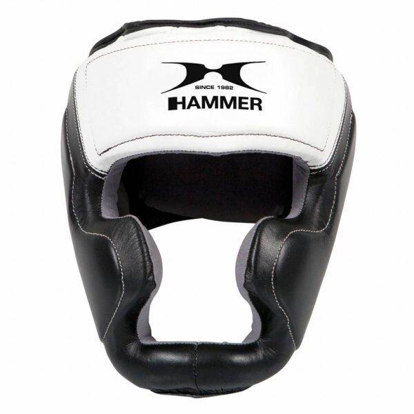 Hammer Boxing HOOFDBESCHERMER Sparring - leer - Zwart/WitMaat S/M