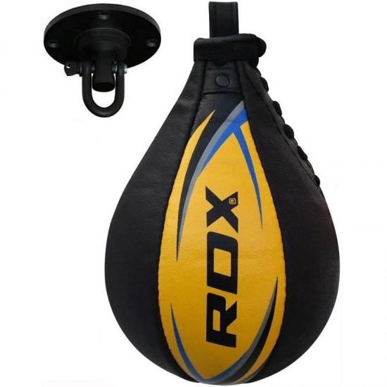 RDX Bokstraining lederen Speedbal   Speed BagZwart - Geel