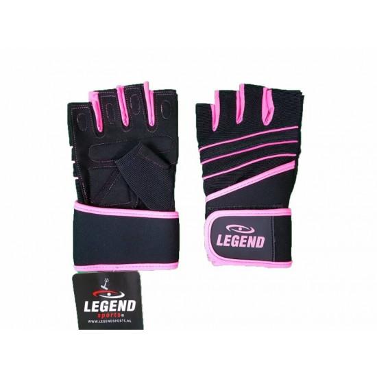 Fitness handschoenen Easy Drifit zwart Legend - Maat: S