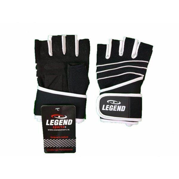 Fitness handschoenen leder zwart Legend - Maat: XS