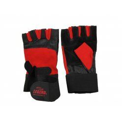 Fitness handschoenen leder zwart/rood Legend - Maat: XS