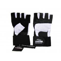Fitness handschoenen leder zwart/wit Legend - Maat: XS