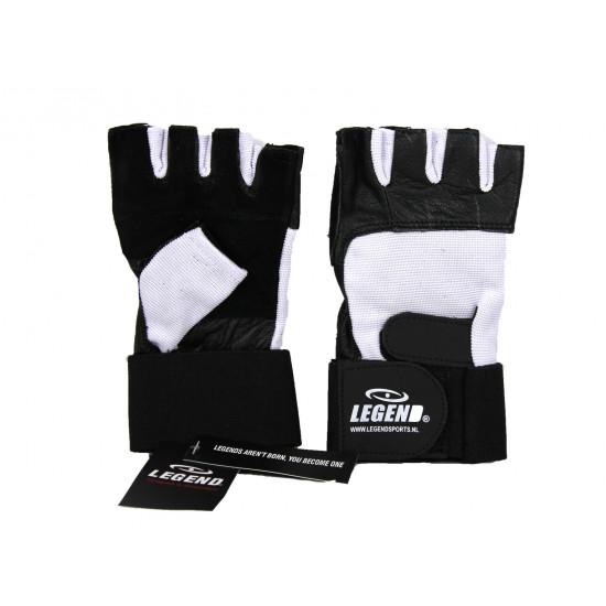 Fitness handschoenen leder zwart/wit Legend - Maat: M