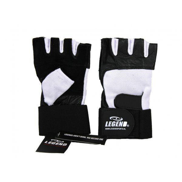 Fitness handschoenen leder zwart/wit Legend - Maat: L
