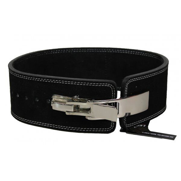Power Lifting Fitness Riem lever zwart suede leer - Maat: M